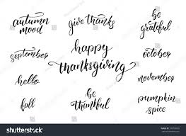thanksgiving day calligraphy quotes thanksgiving day stock vector