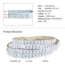 12v 24v 5050 rgb led strip light 600 leds waterproof ip33 ip65