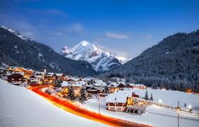 Beautiful Mountain Houses Houses Canazei View Sky Peaceful Dusk Lights Village Snow Evening