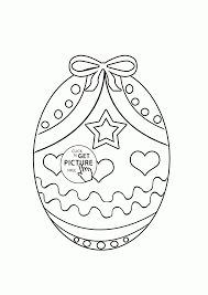 easter egg with bow coloring page for kids coloring pages