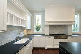 White Kitchen Cabinets With Black Countertops Backsplash For Black Countertops Jkimisyellow Me