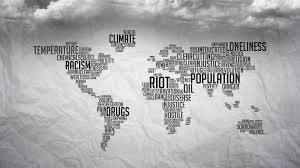 Religion World Map by Clouds Crime Death Earth Homeless Loneliness Maps Monochrome