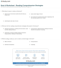 quiz u0026 worksheet reading comprehension strategies study com