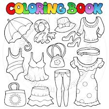 cartoon coloring book clothes theme clairev toon vectors eps