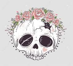 style skull skull with flower crown sugar skull