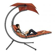 red hanging chaise lounger chair arc stand air porch swing hammock