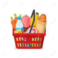 Meat And Cheese Baskets Shopping Basket Full Of Groceries Natural Food Meat Milk