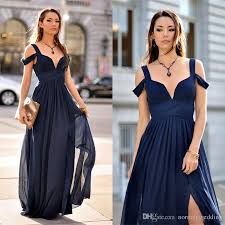 navy blue long bridesmaid dresses 2018 chiffon v neck ruchd split