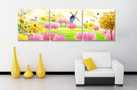 forest fairy windmill flowers butterfly winter snow charming 3 forest fairy windmill flowers butterfly winter snow charming 3 panels modern wall oil painting printed on canvas for home decor landscape wall painting