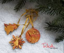 buy set of 3 ornaments gold and copper tree on