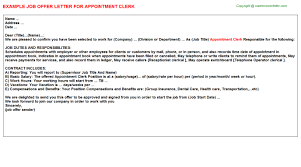 appointment clerk offer letter