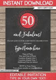 50th birthday invitations template chalkboard u0026 red glitter