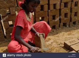 stock image of dalit tribal village working in an adobe brick