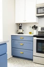 white cabinets brown lower cabinets in kitchen blue white two tone kitchen reveal houseful of handmade