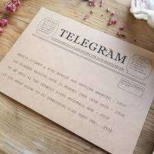 telegram wedding invitation telegram style save the date card by eastwood