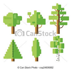 vector of set of flat tree icon vector illustration eps 10