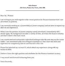 sample cover letter for finance assistant position 5707