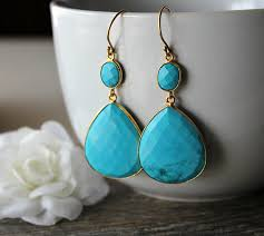 blue stone necklace earrings images Extra large blue turquoise double drop earrings genuine turquoise jpg