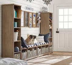 bookcase bench samantha 4 piece bench bookcase entryway set seadrift pottery barn