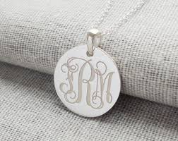 3 Initial Monogram Necklace Sterling Silver Silver Disk Necklace Etsy