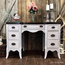 gray painted desk with espresso stain top by just the woods