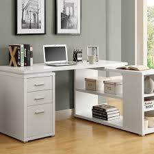 Office Desk With Cabinets Funiture White Office Furniture Ideas Using L Shape White Painted