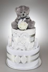 baby boy unisex nappy cake with silver teddy bear new baby