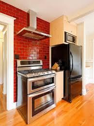 faux brick backsplash kitchen modern with beige wall heath range
