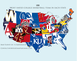 Red State Map by Map Most Hated College Basketball Team In Every State Business