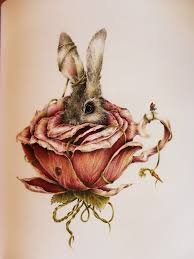 a white rabbit in a flower teacup alice in wonderland through the