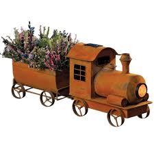 Garden Metal Decor Vintage Train Planter Solar Rustic Looking Garden Metal Sculpture