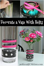 Decorate A Vase Glass Flower Vase Decorated With Belts Petticoat Junktion