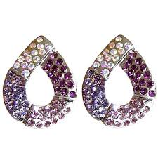 purple stud earrings purple diamante teardrop large stud earrings costume jewelry studs uk