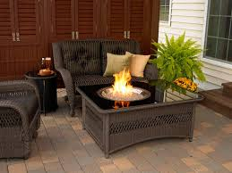 Patio Furniture Set by Furniture Ideas Rectangle Fire Pit Table With White Cushions