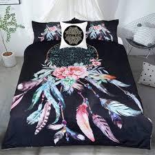 Australian Duvet Sizes King Size Quilt Bed Set Dream Catcher Feathers Black Bed14k