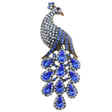 sapphire blue drip drop peacock crystal brooch pin fantasyard