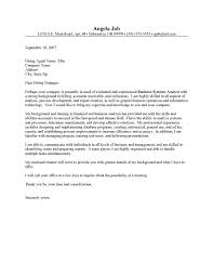 cover letter for business analyst cover letter for business