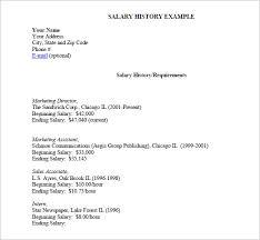 Salary History Template 9 sle salary history templates free word pdf documents