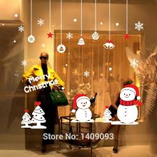 Creative Christmas Window Decorations by New 2016 Winter Wall Decals Creative Christmas Snowman Shop Window