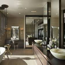 master bathroom ideas with bowl round tub and wooden flooring