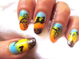 easy scenic nail art design birds at sunset scenery youtube