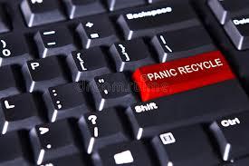 panico testo il testo di panico ricicla sul bottone rosso illustrazione di
