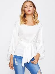 tie front blouse lantern sleeve tie front blouse shein sheinside