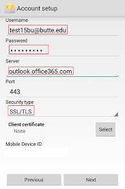 office 365 android setup android configuration it services support butte college