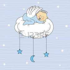 baby sleeping on a cloud birthday card royalty free cliparts