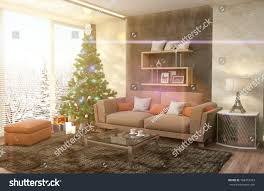 christmas tree decorations living room 3d stock illustration