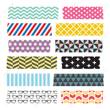 Washi Tape Designs by Set Of Colourful Patterned Washi Tape Strips Royalty Free Cliparts