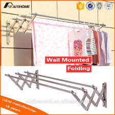 Folding Clothes Dryer Rack Expandable Clothes Drying Rack Stainless Steel Wall Mounted