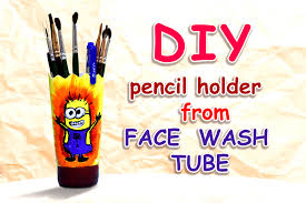 diy pencil holder from face wash tube youtube