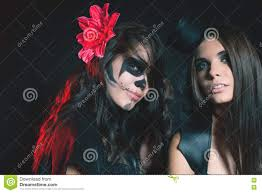 women with gothic makeup vampire evil goth with cross stock